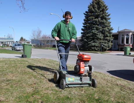 Déchaumage ou défeutrage du chaume ou du feutre de la pelouse